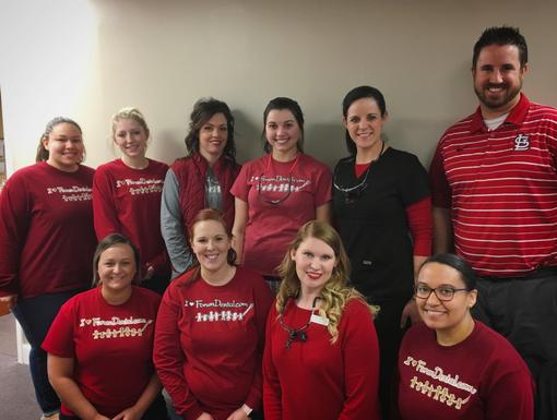 Forum Dental Rolla Staff Red Shirts
